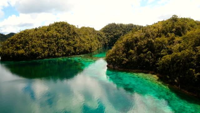 Aerial view tropical lagoon,sea, beach. Tropical island. Siargao, Philippines video