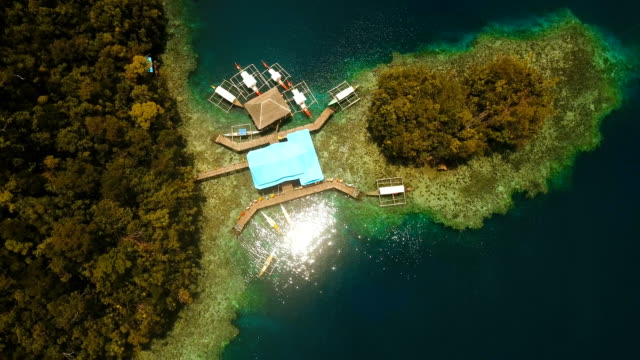 Aerial view tropical lagoon,sea, beach.Bucas Grande Island, Sohoton Cove. Philippines video