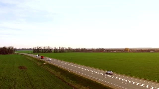 Aerial view truck driving on country road video
