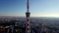 Aerial view TV broadcasting Tower in Saint-Petersburg, Russia video