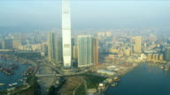 Aerial View Victoria Harbour, Hong Kong video