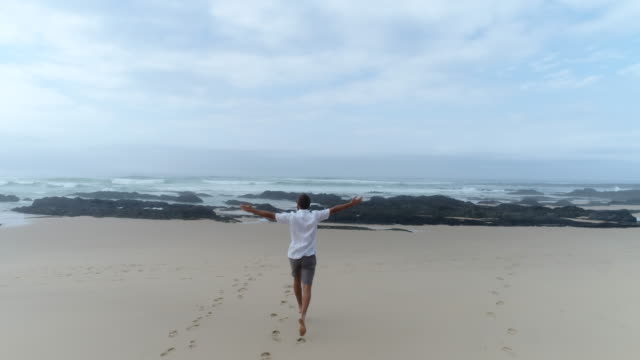 Aerial view- young man walking on beach video