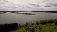 Aerial View.Landscape of the field, lake video