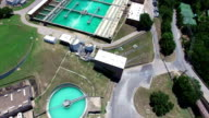 Aerial: Water Treatment Purification Plant long extended version video