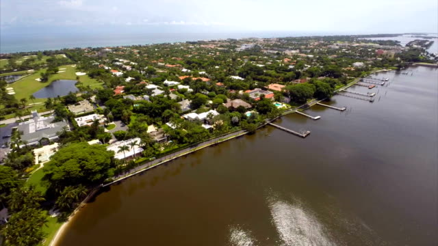 Aerial waterfront homes in Florida video