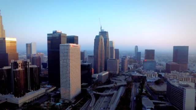 Aerial whip pan of downtown Los Angeles California at sunset video