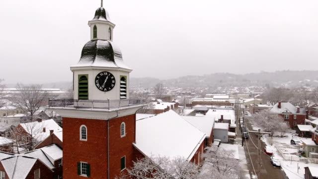 Aerial Winter Establishing Shot of St. John's Lutheran Church video