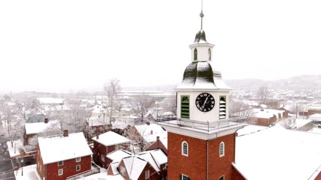 Aerial Winter Establishing Shot Old Economy Village Church video