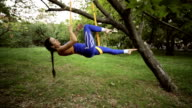 Aerial Yoga or practicing yoga in the air. video