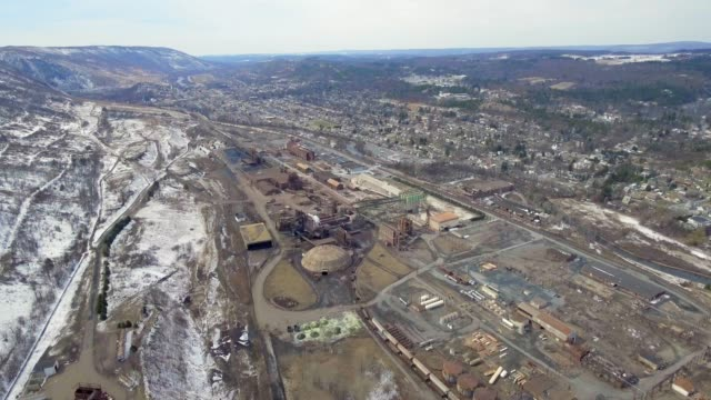 Aerial zinc recycling plant in valley video