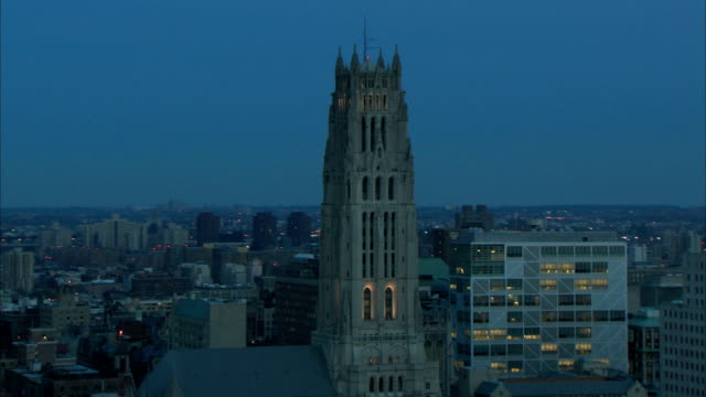 aerial zoom on manhattan cathedral video