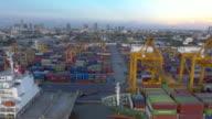 Aerial:Cargo container at sea port video