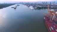 Aerial:Container ship in the harbor video