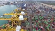 AERIAL:Industrial view of cargo container video