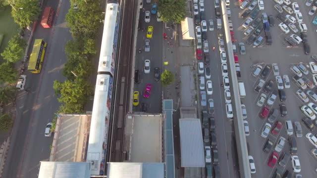 Aerial:Sky Train over the city ,Bangkok thailand video