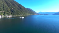 Aerial:Speed boat along the lake video