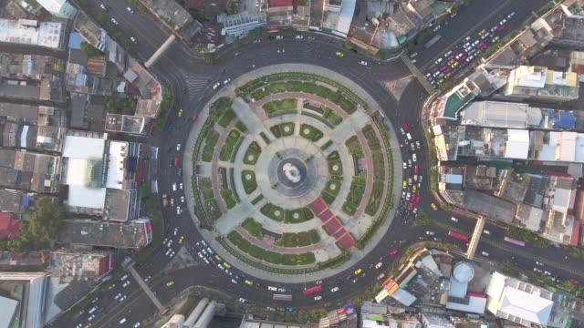 Aerial:Traffic car in circle video
