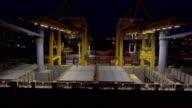 Aerial:Transport at Shipping port at night video