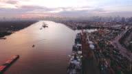 Aerial:Transportation containership at dusk video