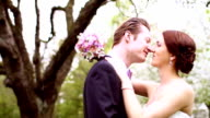 Affectionate bride and groom kissing on their wedding day video