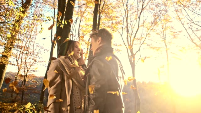 SLO MO Affectionate couple in the autumn forest video