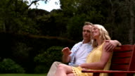Affectionate couple sitting on bench video