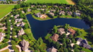 Affluent Rural Neighborhood With Woods and Lakes, Aerial View video