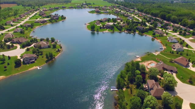 Affluent Rural Suburb on Beautiful Man-Made Lake, Aerial View. video