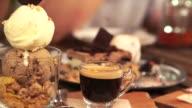 affogato Italian style dessert hot coffee with scoop of cold ice cream video