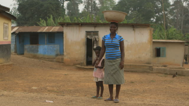 Africa Portrait of a mother carrying water on her head video