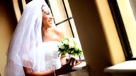 African American Bride Wearing Wedding Dress video