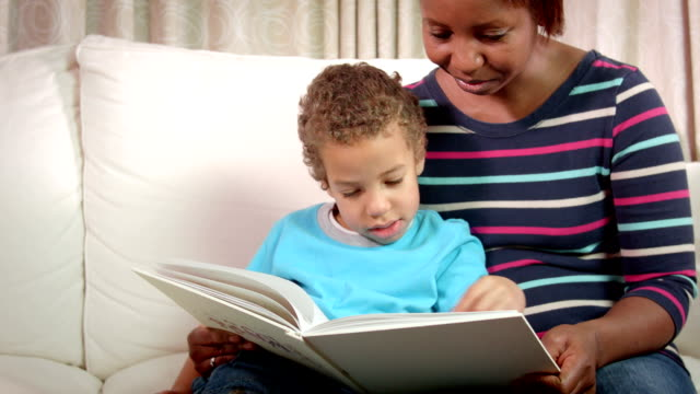 HD: African American Carer Reading With Little Boy video