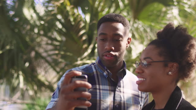 African American couple taking a cell phone picture together in front of a palm tree video