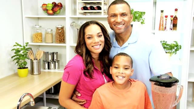 African American Family Blender Fresh Fruit Drink video