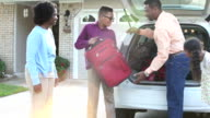 African American family going on vacation or road trip video