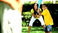 African American Family Playing Baseball video