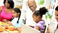 African American Grandparents Children Kitchen Mom Working video