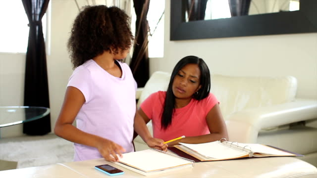 African American Mother Helping with Homework Wide video