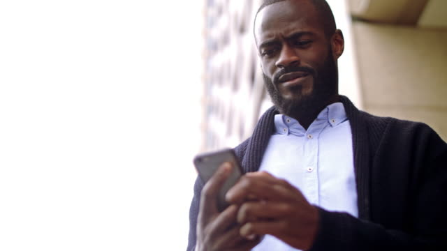 African city professional texting video