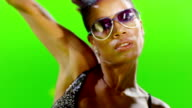 HD African Stylish Girl Dancing On Green Screen. Stroboscope Light On Body. Slow Motion. video