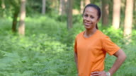SLO MO DS African-American female runner portrait video