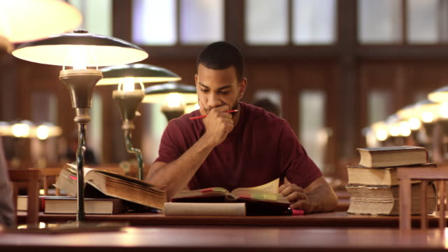 DS African-American male studying in library video