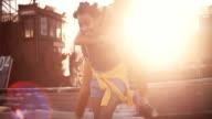 Afro girl piggybacking her teen girl friend video