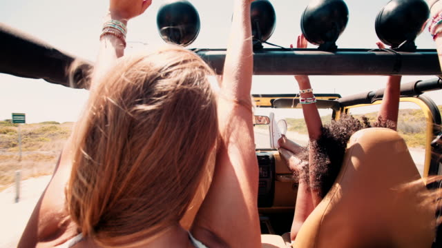 Afro girl with friends arms raised excitedly on a road trip video