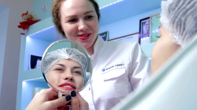 After Lip injection plastic surgery video