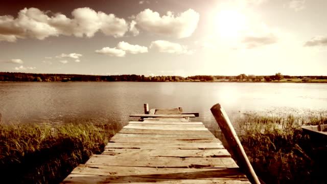 Aged wooden pier video