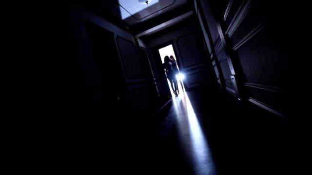 Agent Woman in Black Leather Suit at the door and in this shadow going from door, super heroine in action, in black, leather suits, gun, pistol, inside, Door, open, spies, woman, indoors, video