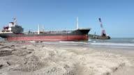 aground cargo ship video