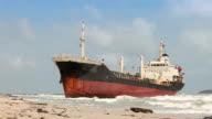 Aground ship on beach video