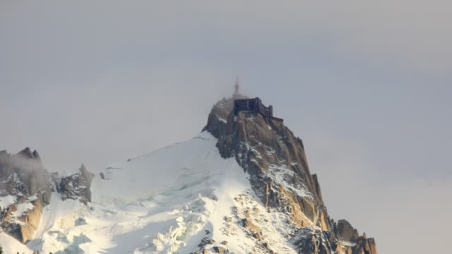 Aiguille du midi views between the clouds - 4K video
